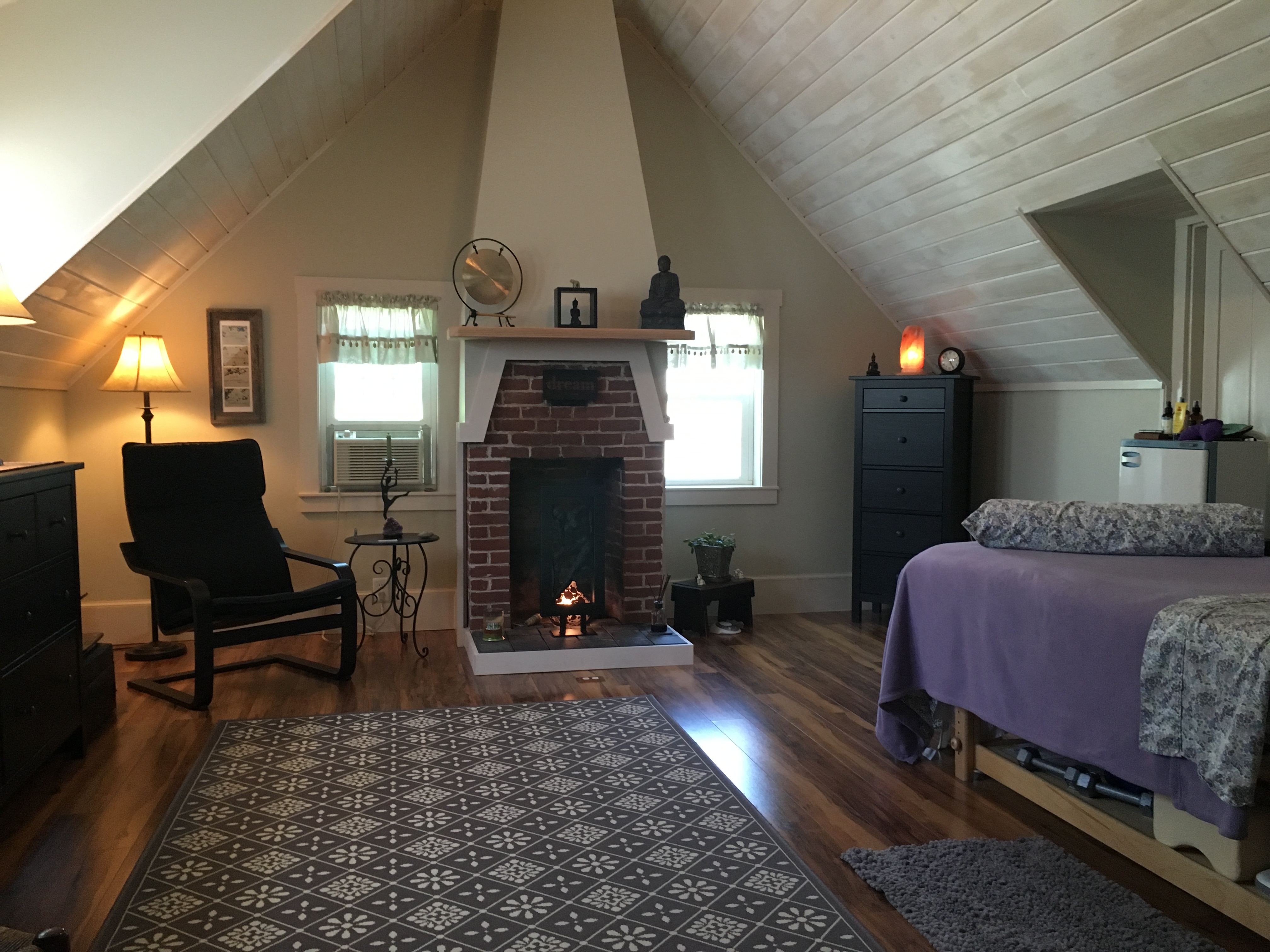 Massage therapy and energy work room in Boothbay Harbor, Maine at Whispering Winds of Change